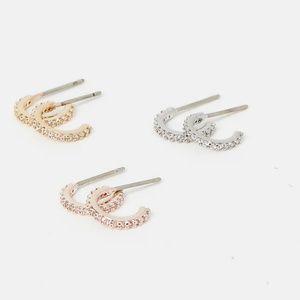 NEW Express Cubic Zirconia Post Back Hoop Earrings
